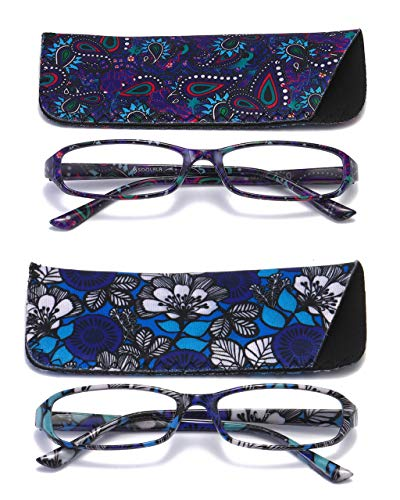 SOOLALA 2-Pair Designer Fashionable Spring Hinge Rectangular Reading Glasses w/Matching Pouch, BluePurple, 3.0