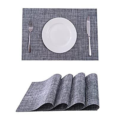 Set of 4 Placemats,Placemats for Dining Table,Heat-resistant Placemats, Stain Resistant Washable PVC Table Mats,Kitchen Table mats(Smoky Grey) - FDA Approved Eco-Friendly Kitchen Accessories,Stylish Crossweave Pattern With high quality and environmentally PVC materials Very durable,Non-fading. PACKAGE: included 4 sets of placemats; Size in :18'' x 12'' (45CM X 30CM),All placemats are cut by hand and maybe one or two inches error. Protect your table from scratches and stains ,liquid can go through placemats ,clean it when finished.Perfect additon to your dinner table,beautiful stylish placemats to addmore fun to your kitchen table. - placemats, kitchen-dining-room-table-linens, kitchen-dining-room - 51A8SUKuPjL. SS400  -