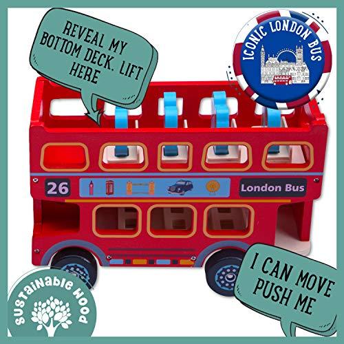 Jaques De Londres Gran Autobus Rojo De Londres De Juguete Con Pasajeros Vehiculo De Juguete Britanico De Madera Para Ninos Y Ninas Juego Imaginativo 1795
