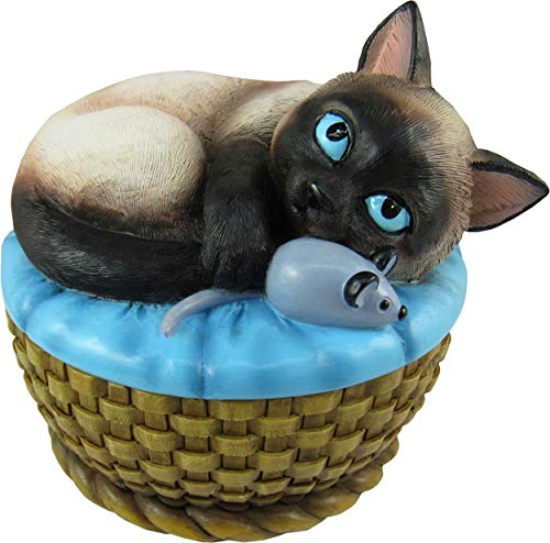 World of Wonders - Meow & Forever Series - Kitten Keeper - Collectible Seal Point Siamese Kitty Cat with Mouse Toy Decorative Jewelry Holder Trinket Container Stash Box Keepsake Figurine, 5-inch