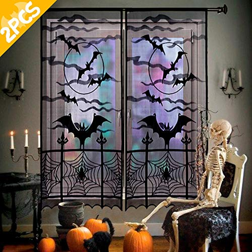 Halloween Mesh Decorations (AerWo 2pcs Halloween Curtains Spider Web Bats Halloween Window Curtain, Black Lace Door Curtain Panel Decor for Halloween Window Decorations, 40 x 84)