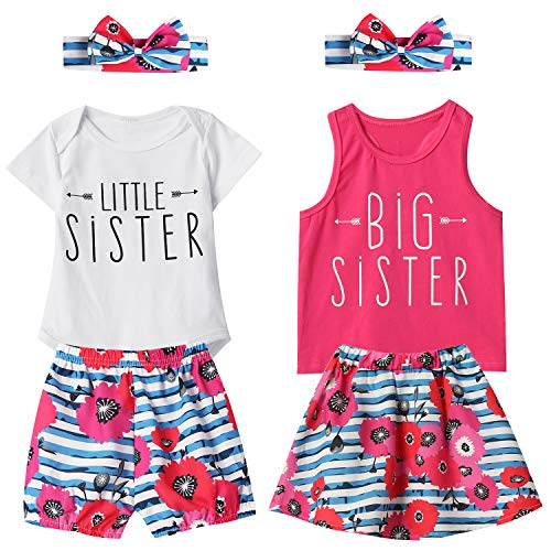 (Aslaylme Matching Sister Little Sister Bodysuit Floral Stripe Short Set (White,6-12 Months))