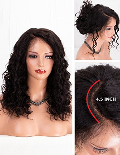 "Search : MS.ILSA Soft Curly Human Hair Lace Front Wigs with Baby Hair, 4.5"" Deep Part Brazilian Remy Hair Women Wigs for African Americans Natural Color 16"""