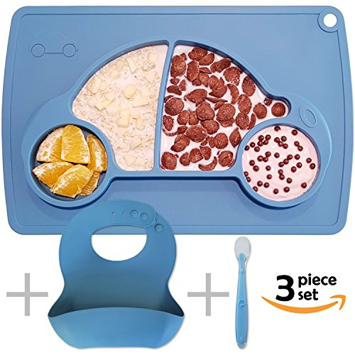 Silicone Baby Placemat with Plate, Bib and Spoon - Blue Car FDA Approved Food Grade Silicon Rubber Table Mat, Replacement for Toddler Suction Cups and Plates