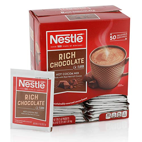 Cocoa Hot Packets - Nestle Hot Chocolate Mix, Hot Cocoa, Rich Chocolate Flavor, Made with Real Cocoa, 0.71 oz Packets (Pack of 50)
