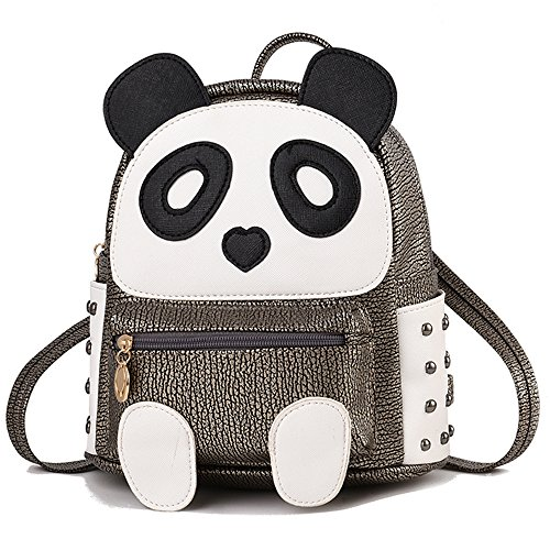 Cute Panda Backpack for Girls and Boys Waterproof Leather Small Travel -