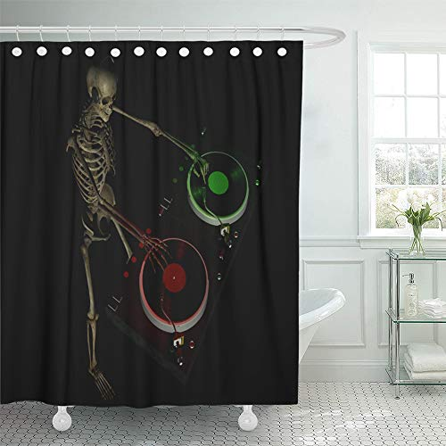 Emvency Shower Curtain 72x72 Inch Home Postcard Decor Dirty Skeleton is in The House and Mixing Up Some Halloween Horror Turntables Shower Hook Set are Included