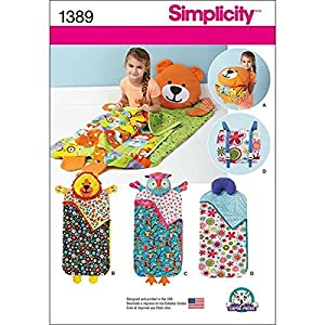 Simplicity 1389 Children's Animal Themed Sleeping Bag Sewing Patterns, One Size Only