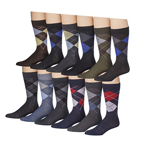 James Fiallo Men's 12-Pairs Funky Colorful Argyle Crew Dress Socks (Dress Argyle) Mens Argyle Pattern Socks