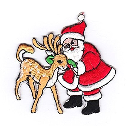 Christmas Santa Claus With Deer Iron on Patches /Sew On / Applique / - Indian Hot East Men