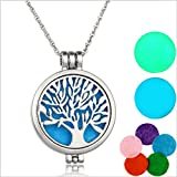 FULLIN Aroma Necklace Tree Of Life Aromatherapy Essential Oil Diffuser Necklace Locket Pendant Jewelry,White K