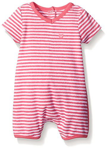ABSORBA Baby-Girls Terry Print Romper, Pink/White, 0-3 Months