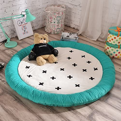 Cartoon Soft Fenced Play Mat, Extra-Thick Non-Toxic for Kids Flannel 60 inch Pentagram Round by HugeHug (Plus)