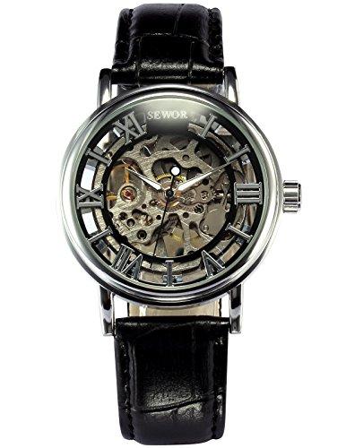 SEWOR Leather Band Mechanical Wrist Watch - 6