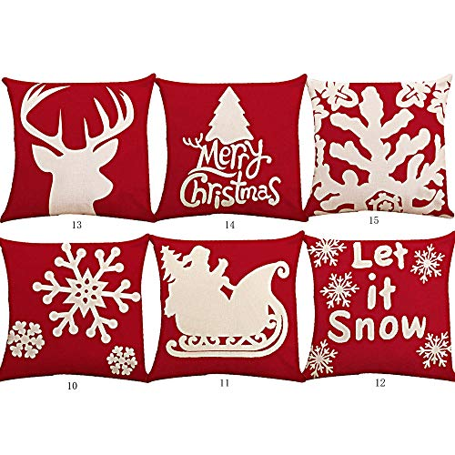 Dansfeng 6PCS Christmas Pillow Covers Christmas Decorative Throw Pillows Cases Sofa Indoor Outdoor Home -