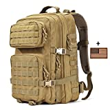 Tactical Backpack - Military Tactical Backpack Large 3 Day Assault Pack Army Molle Bug Out Bag Backpacks Hunting Rucksacks 40L Tan
