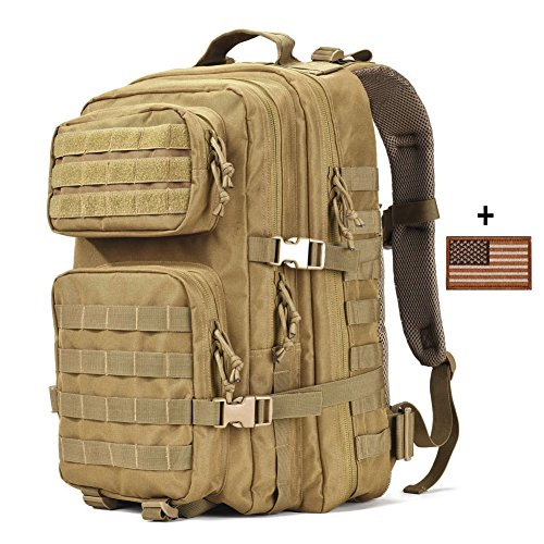 Military Tactical Backpack Large 3 Day Assault Pack Army Molle Bug Out Bag Backpacks Hunting Rucksacks 40L Tan (Pack Tactical Assault)