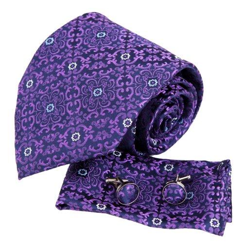 Purple Paisleys men with ties christmas gift silk neck tie cufflinks Handkerchiefs (Christmas Silk Necktie)