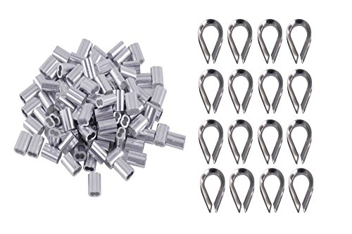 Eowpower 100Pcs 1/8 inch Wire Rope Aluminum Sleeves Cable Crimps and 16Pcs M3 Stainless Steel Thimble (Stainless Steel Cable Thimble)