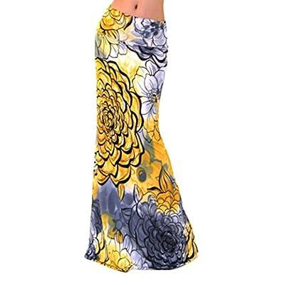 WOCACHI Womens Summer Contrast Sleeveless High Waist Floral Maxi Dress Long Skirt