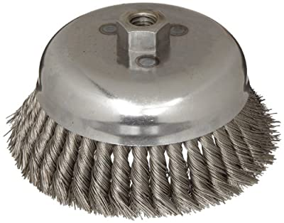 """Weiler Wire Cup Brush, Threaded Hole, Steel, Partial Twist Knotted, Single Row, 6"""" Diameter, 0.023"""" Wire Diameter, 5/8""""-11 Arbor, 1-5/8"""" Bristle Length, 6000 rpm (Pack of 1)"""