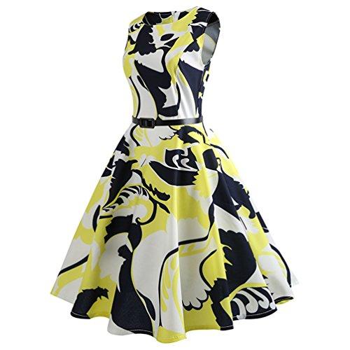 Vestiti Festa Elegante Stile Donna Abito A Jitong Girocollo Da Swing Pieghe 1950s Vestito Line 5 Per Stampato Vintage aBvnq7ZvH