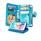 Galaxy S6 Edge Case, NOKEA [Wallet] [Kickstand] [Anti-Scratches] [Shock Resistant] and [Drop Protection] Premium PU Leather Flip Wallet Case Cover for Samsung Galaxy S6 Edge (Blue)