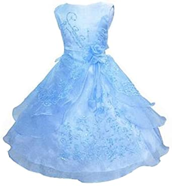 47a6208a33 Shiny Toddler Little Girls Embroidered Beaded Flower Girl Birthday Party  Dress with Petticoat 2t-3t