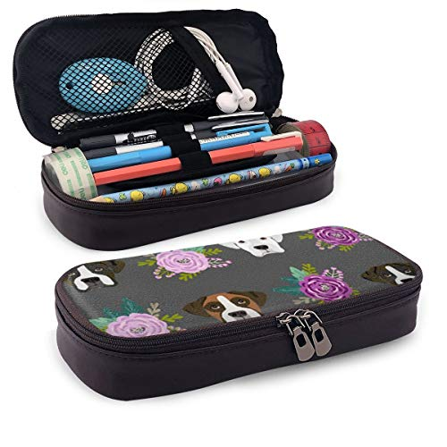 Karen Felix Pencil Case, Boxer Dogs Floral Pencil Pouch Pen Case Pencil Bag Durable Students Office College School Stationery with Double Zipper]()