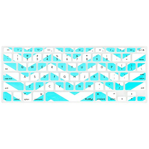 Kuzy Teal Hot Chevron Zig-Zag Keyboard Cover for MacBook Pro 13 15 17 (with or w/out Retina Display) iMac and MacBook Air 13 Silicone Skin - Teal/Turquoise HOT Blue