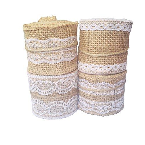 Stuffnew Pack of 4 Burlapand Lace Rolls Ribbon 2 Yards Rolls Rustic Wedding Favor Decorations Art DIY Crafts Natural Linen Rollers - La Linen Burlap Ribbon