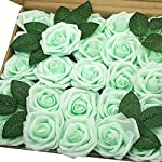 J-Rijzen-Jing-Rise-Artificial-Roses-50pcs-Real-Touch-Mint-Green-Fake-Flowers-with-Stem-for-Centerpieces-Wedding-Floral-Arrangements-Baby-Shower-Home-Decorations-MintLight-Green