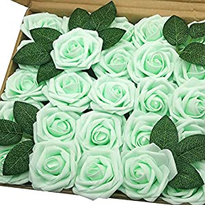 J-Rijzen Jing-Rise Artificial Roses 50pcs Real Touch Mint Green Fake Flowers with Stem for Centerpieces Wedding Floral Arrangements Baby Shower Home Decorations (Mint/Light Green)