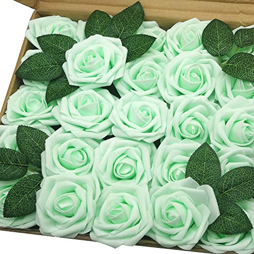 J-Rijzen Jing-Rise Artificial Roses 50pcs Real Touch Mint Green Fake Flowers with Stem for Centerpieces Wedding Floral Arrangements Baby Shower Home Decorations (Mint/Light Green) (Floral Wedding Centerpieces)