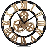 PUMERIT Vintage Gear Wall Clock 3D Retro Non-Ticking Wood Clock Rustic Style for Living Room Hotel Restaurant Decoration 23.6 Inch
