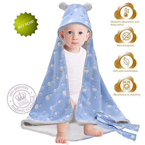 Flannel Sleep Bag Blanket,Wrap Swaddle Blanket,Sleep Sack Blanket for Infant and Toddler,Super Soft with Cute Swan Face Design Hooded Sleeping Blanket 30x30-Inch Size (Blue)