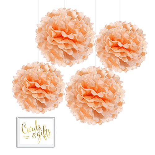 Andaz Press Tissue Paper Pom Poms Hanging Decorations with Free Gold Card & Gifts Party Sign, Peach, 8-inch and 10-inch, 4-Pack, For Coral Champagne Baby Bridal Shower Wedding Colored Party - Peach Supplies Party