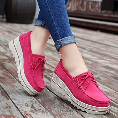 Chaussures Casuel Loafers Z Confort suo Rouge Suède Rose Femmes Mocassins SqTwUFBHY