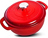 Enameled Cast Iron Dutch Oven – Red Color with Lid, 3.2-quart - by Utopia Kitchen