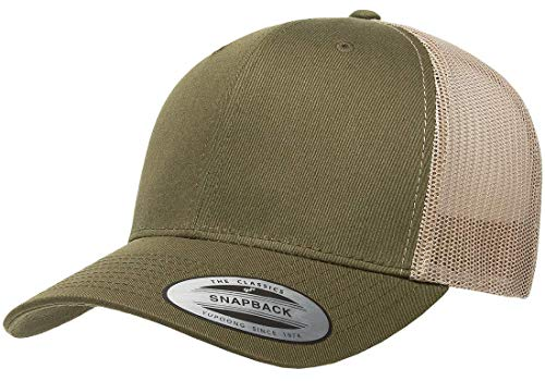 Trucker Adjustable Cap Mesh (Flexfit/Yupoong Retro Trucker Snapback Cap | Mesh Back, Adjustable Ballcap w/Hat Liner (Moss/Khaki))