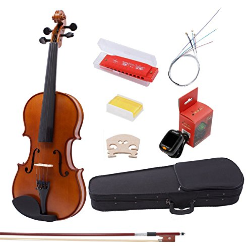 Full Size Violin Starter Kit Music 4/4 Handmade Solidwood Violin Set-Matte Brown