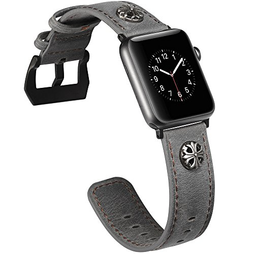 Rustic Apple (Watruer for Apple Watch Band, 42mm 44mm Genuine Leather iwatch Strap Replacement Band with Stainless Metal Clasp for Apple Watch Series 4 & 3 & 2 & 1 Sport and Edition (Captain Shield - Gray))
