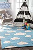 nuLOOM BHEV28A Cloudy Sachiko Area Rug, 2′ 6″ x 8′ , Blue
