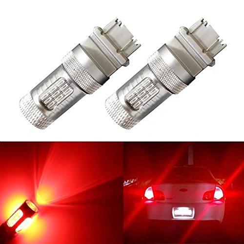 DunGu 3157 3057 4157 LED Bulb Red Super Bright 600 lumen for Brake Stop Tail Lights wide voltage 12-24V (Pack of 2) …