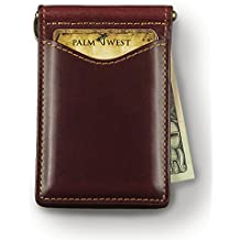 Palm West Leather Minimalist Leather Money Clip Wallet with RFID Blocking Technology