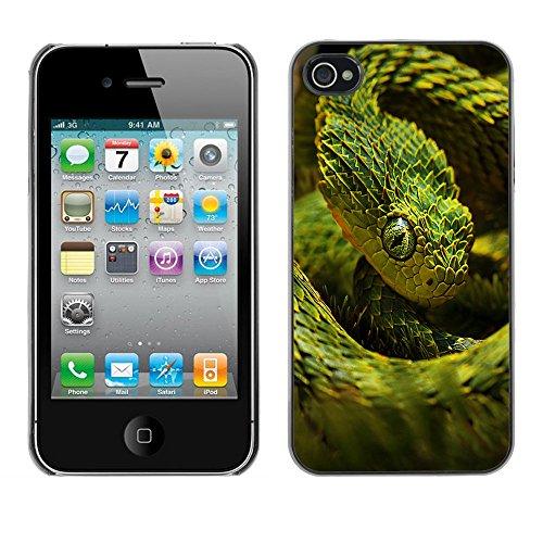 Omega Case PC Polycarbonate Cas Coque Drapeau - Apple iPhone 4 / 4S ( Cool Neon Green Snake )