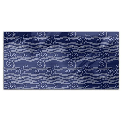 Waves And Twirls Rectangle Tablecloth: Medium Dining Room Kitchen Woven Polyester Custom Print by uneekee