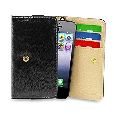 Insten Leather Wallet Cell Phone Case with Card Slots for Apple iPhone 5s 5c 5 / Nokia Lumia 820 / Samsung Galaxy S4 Mini I9190 S2 and More, Black by eForCity