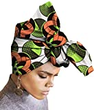 Ababalaya Women's Extra Long African Traditional Wax Print Head Scarf Wrap Tie 35×45 inch,206