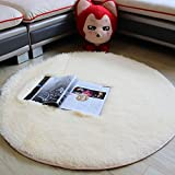 KEPSWET Simple Fluffy Solid Bedroom Bedside Area Rug Living Room Rugs Cozy Super Soft Child Bedroom Carpet Silky Plain Washable Non-slip Rug Floor Mat (5'3×5'3, Beige)